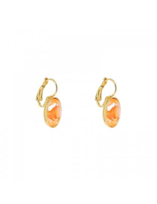 Boucles d'oreilles ovales peach delight acier or - Bohm Paris