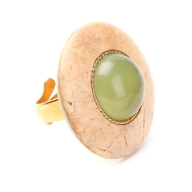 Bague coco cabochon jade Danube - Nature Bijoux