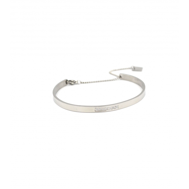 Sparkle chained silver bangle - Zag Bijoux