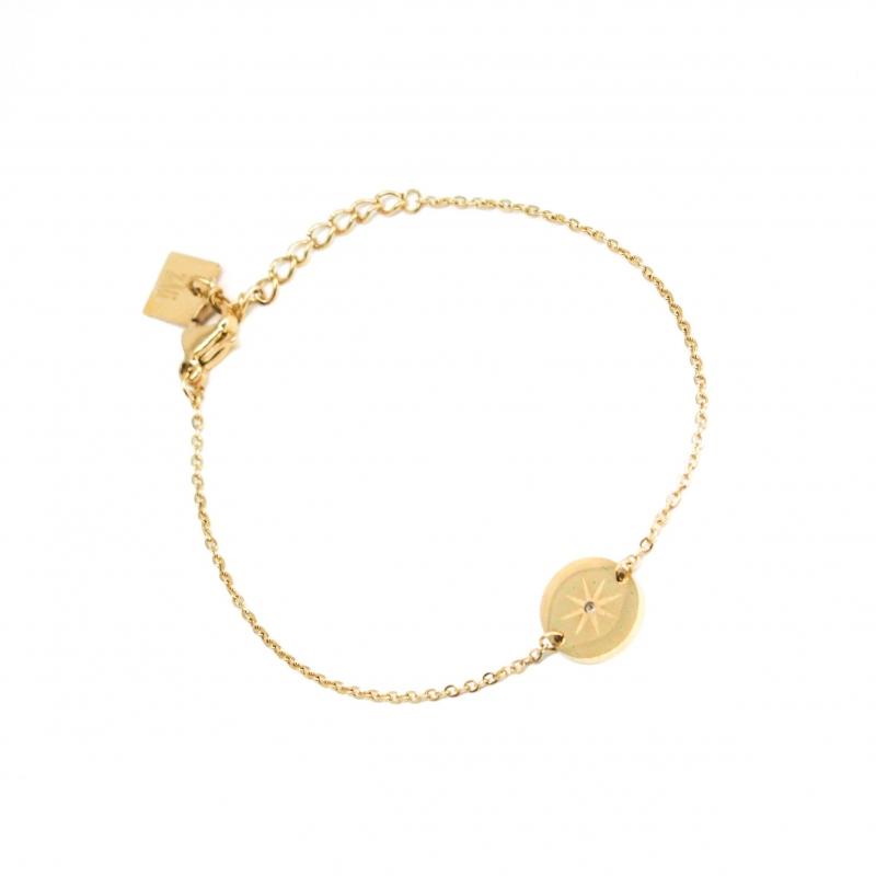 Bracelet pastille étoilée en acier jaune - Zag Bijoux