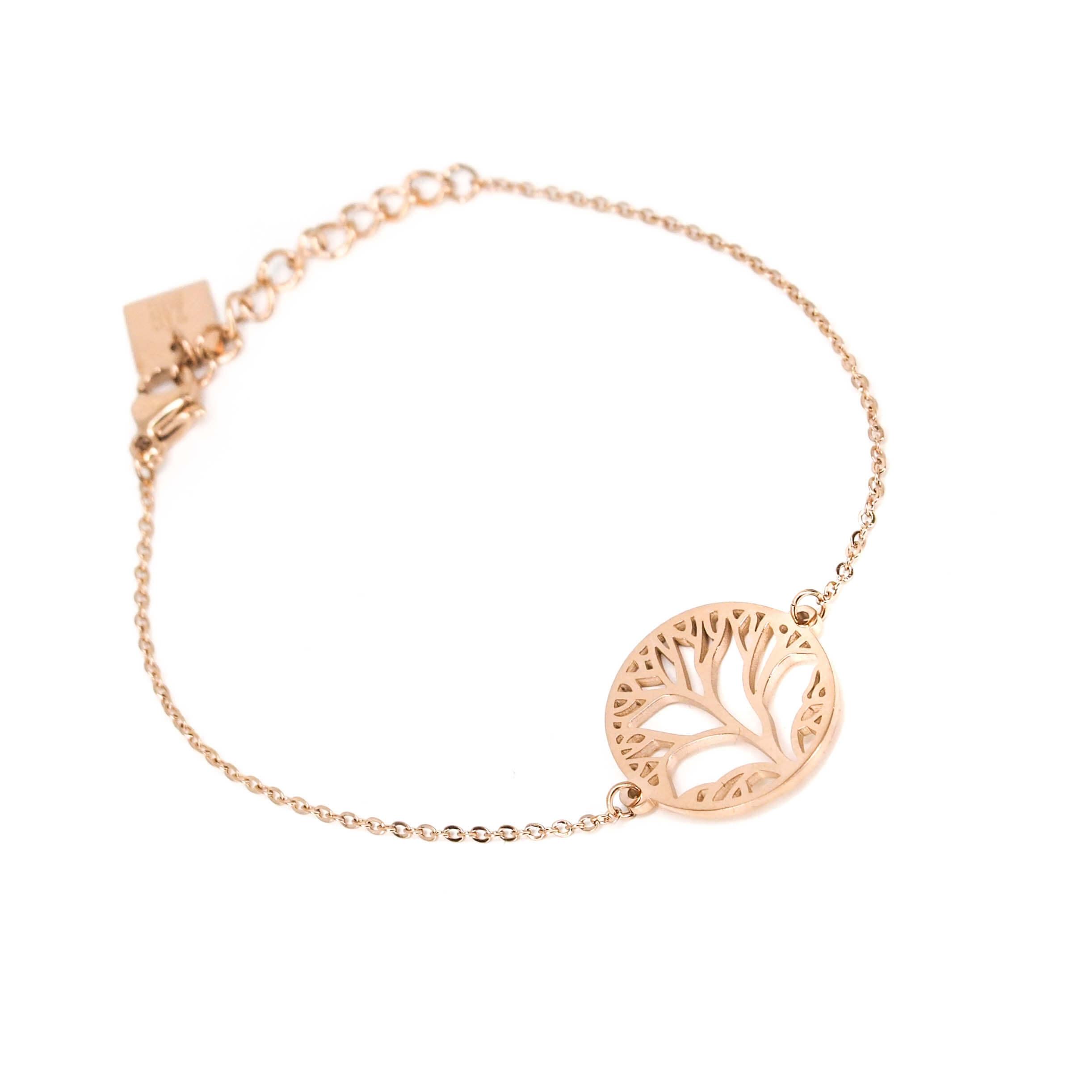 Bracelet arbre de vie en acier rose - Zag Bijoux