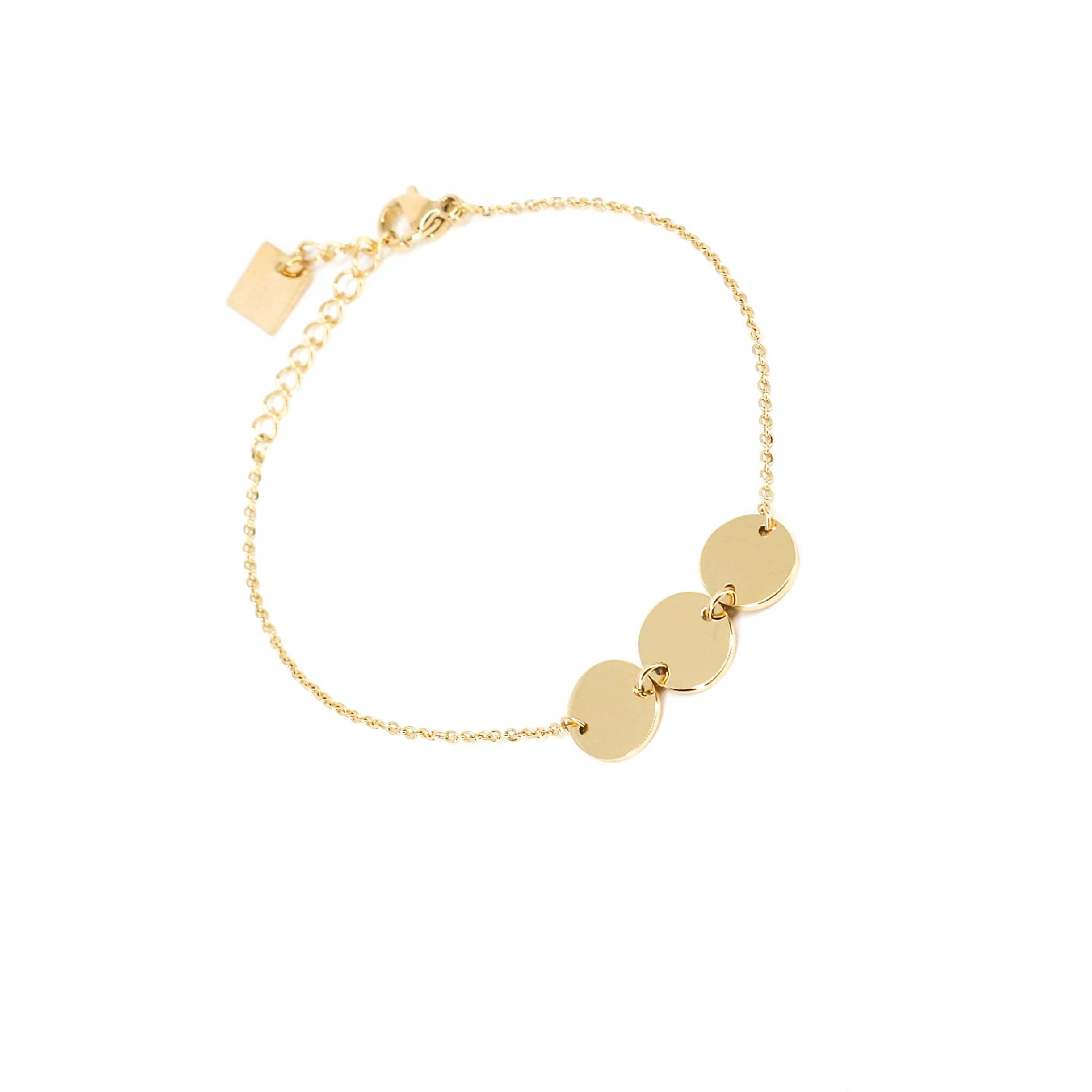Bracelet 3 pastilles en acier jaune - Zag Bijoux
