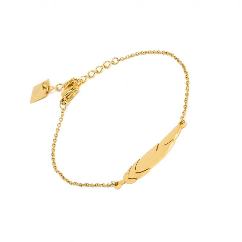 Bracelet plume en acier jaune - Zag Bijoux