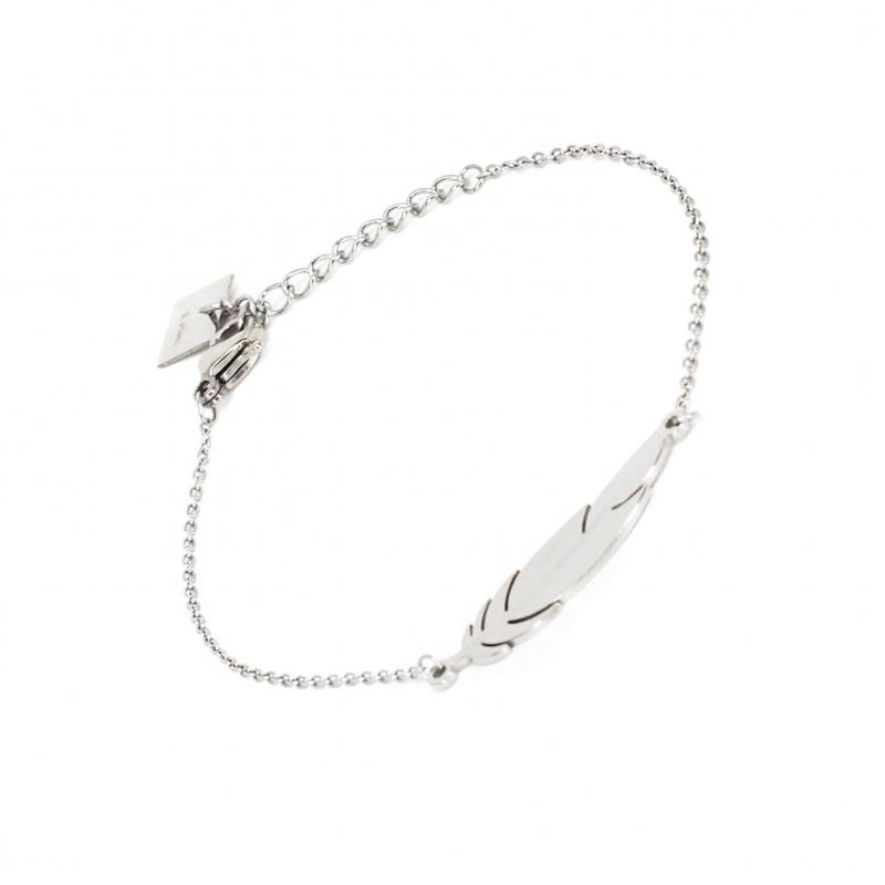 Feather silver bracelet -...