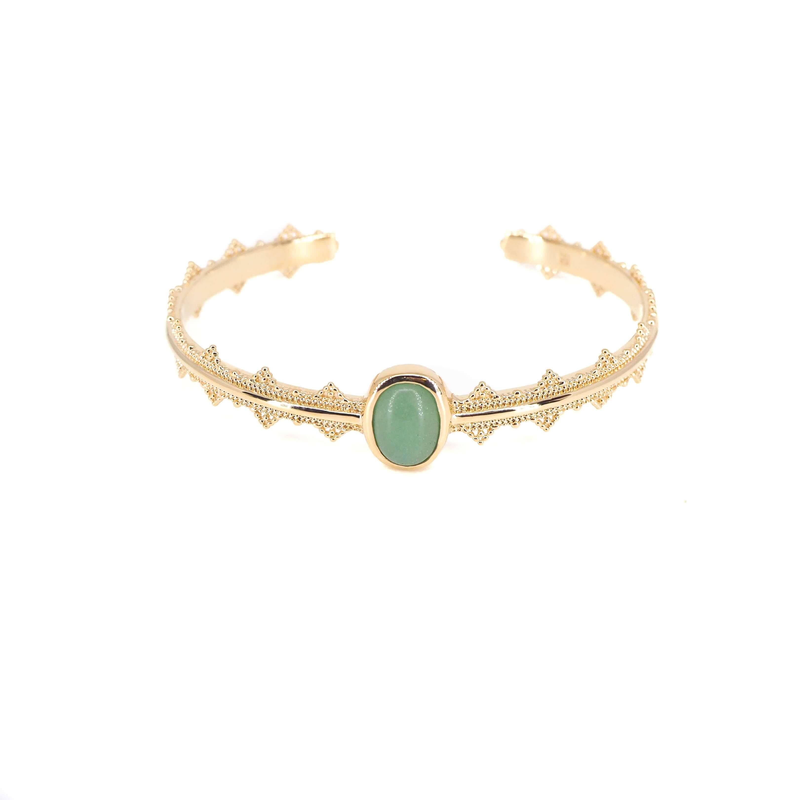 Bracelet jonc aventurine en plaqué or - Les créations de Lili
