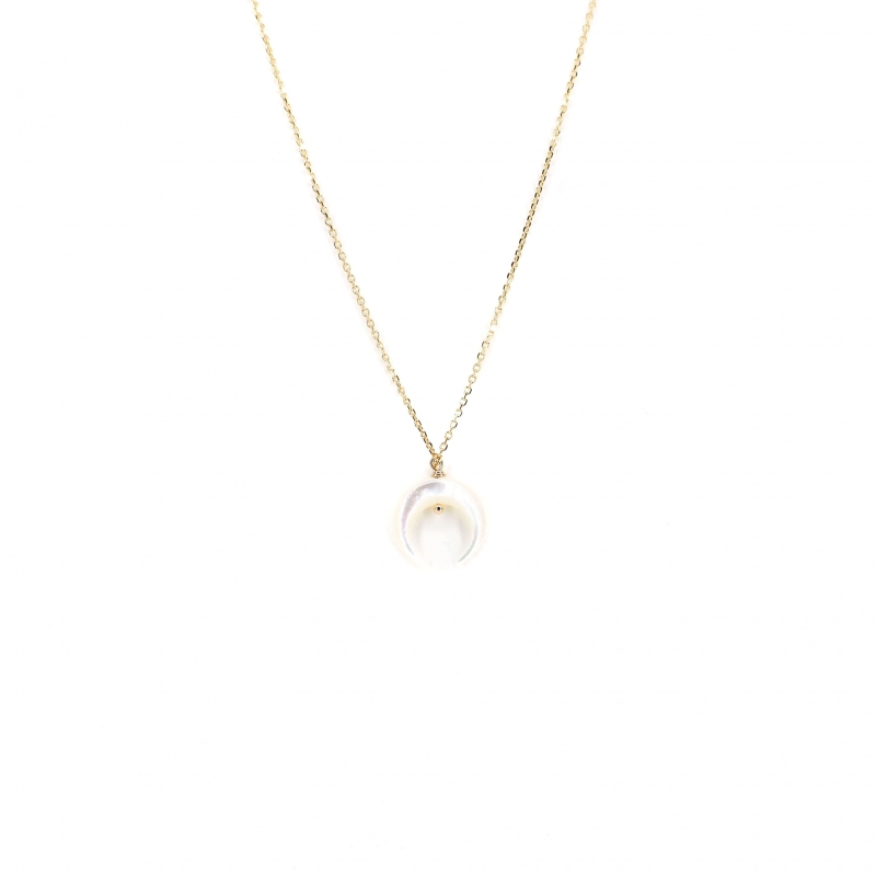 Moon pearly gold necklace -...