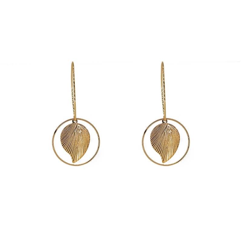 Leaf circle gold earrings -...