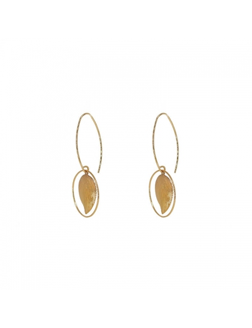 Leaf circle gold earrings - Pomme Cannelle
