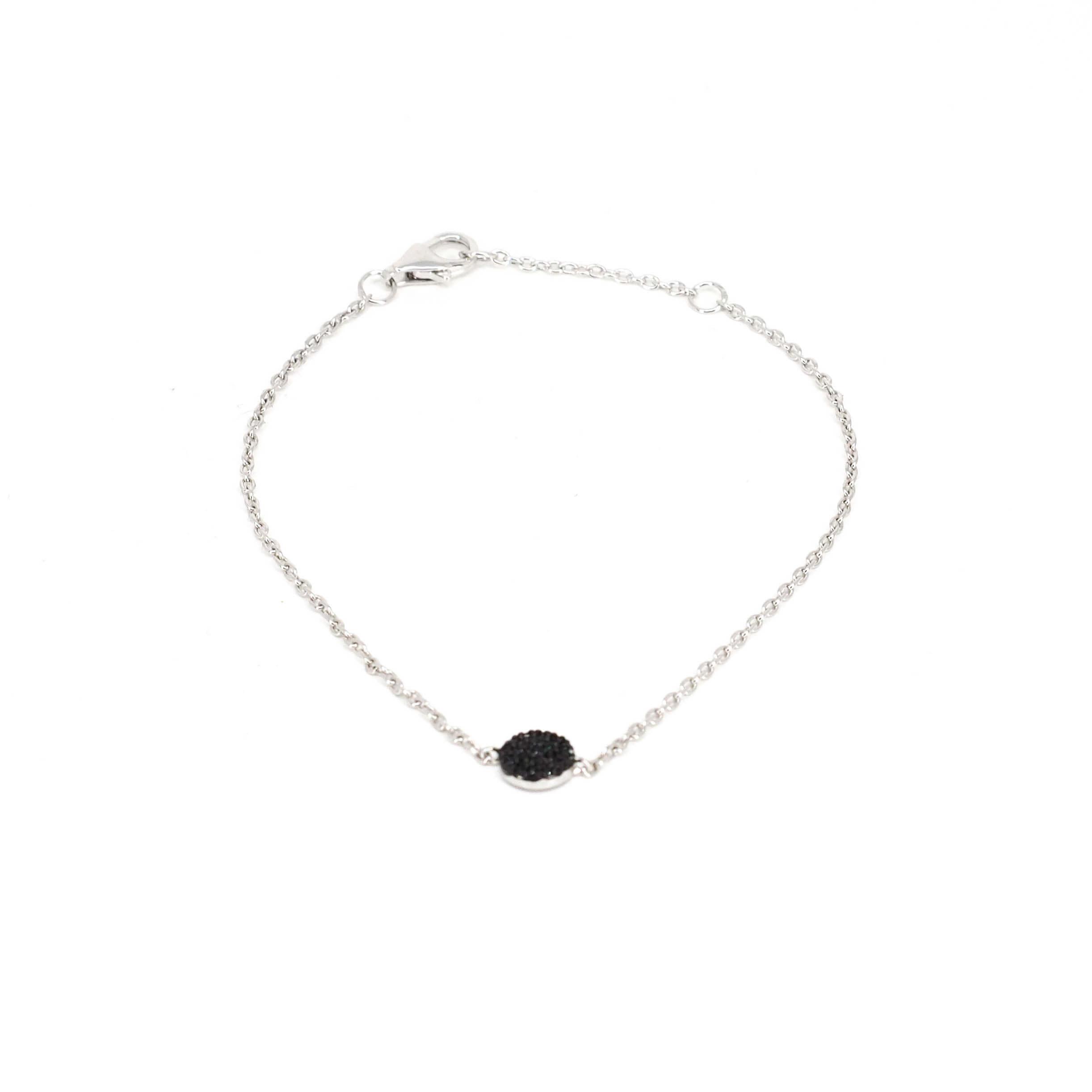Bracelet shiny noir en argent - Pomme Cannelle