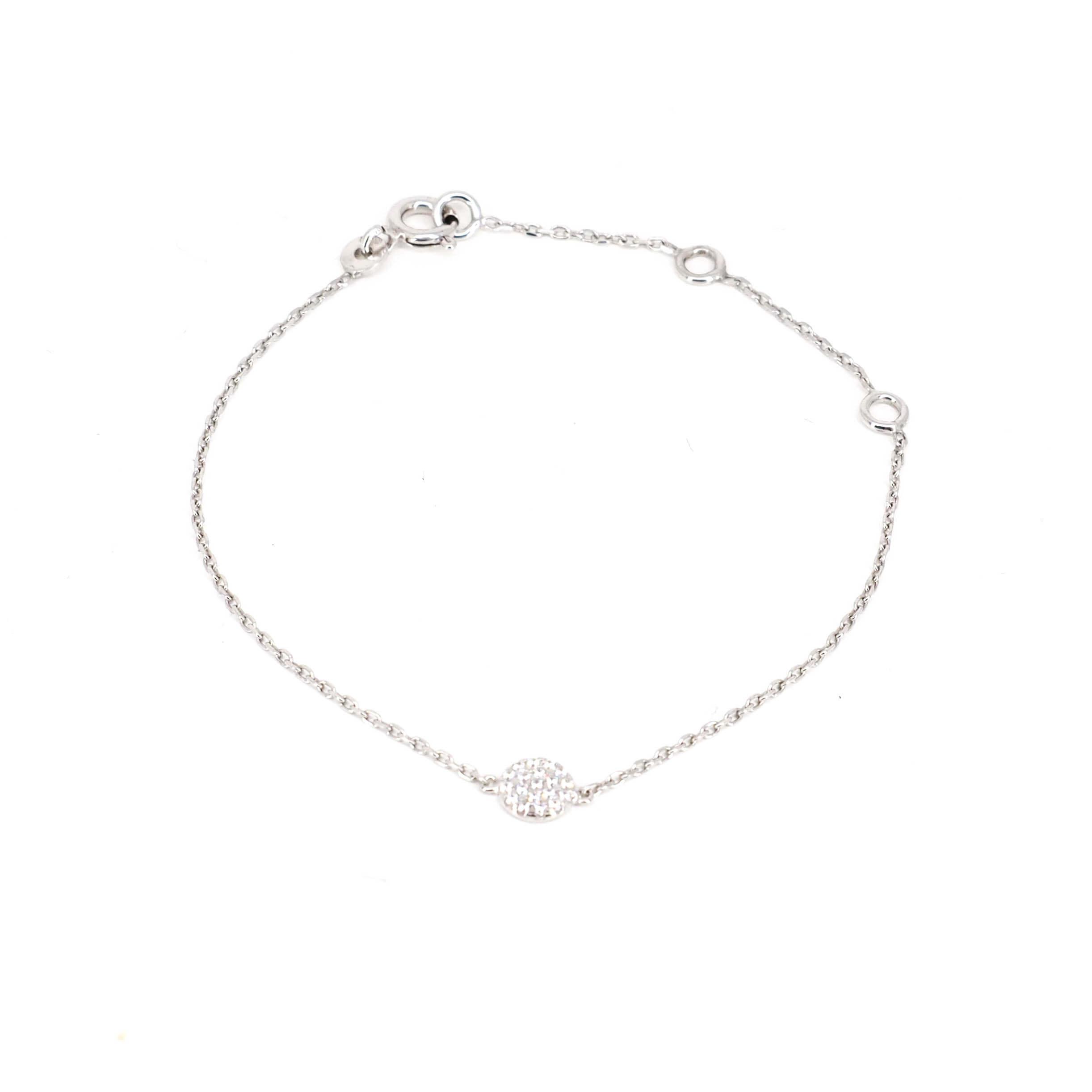 Bracelet shiny blanc en argent - Pomme Cannelle