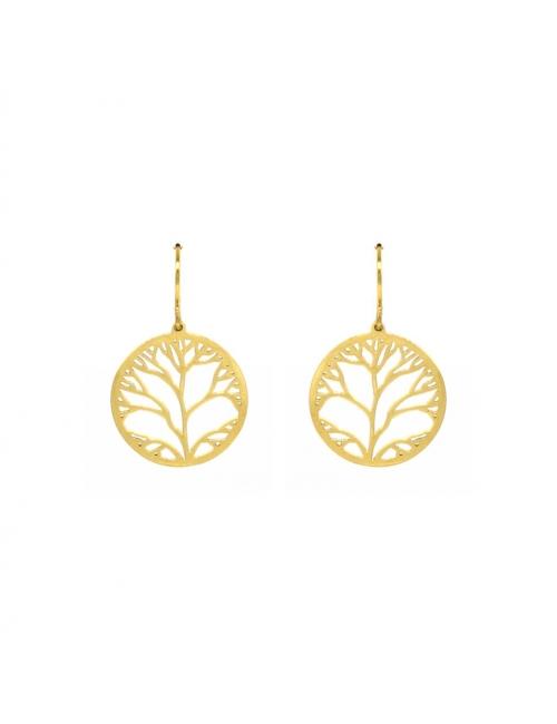 Yellow steel tree life earrings - Zag Bijoux