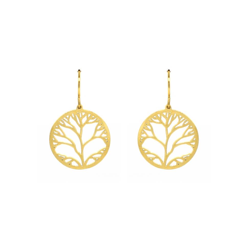 Boucles d'oreilles arbre de vie en acier jaune - Zag Bijoux