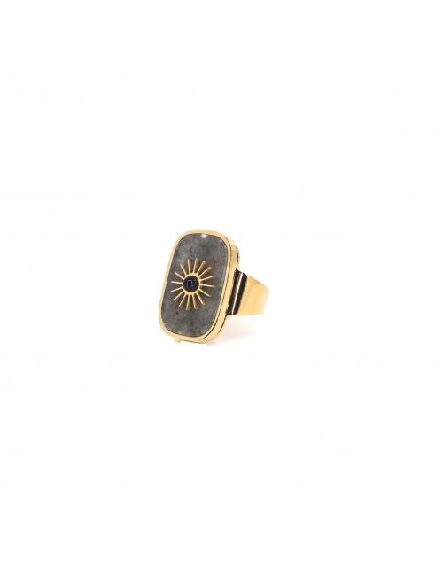 Bague stone soleil en acier jaune et labradorite - Zag Bijoux