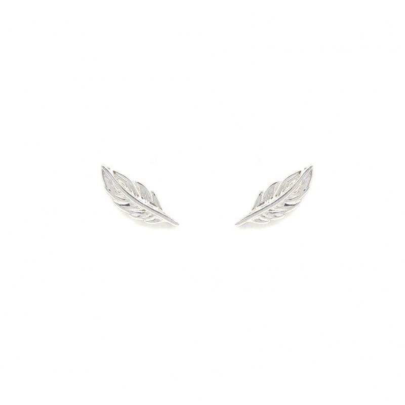 Boucles d'oreilles clous plumes en argent - Les créations de Lili
