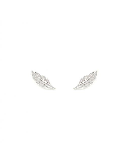 Boucles d'oreilles clous plumes en argent - Pomme Cannelle