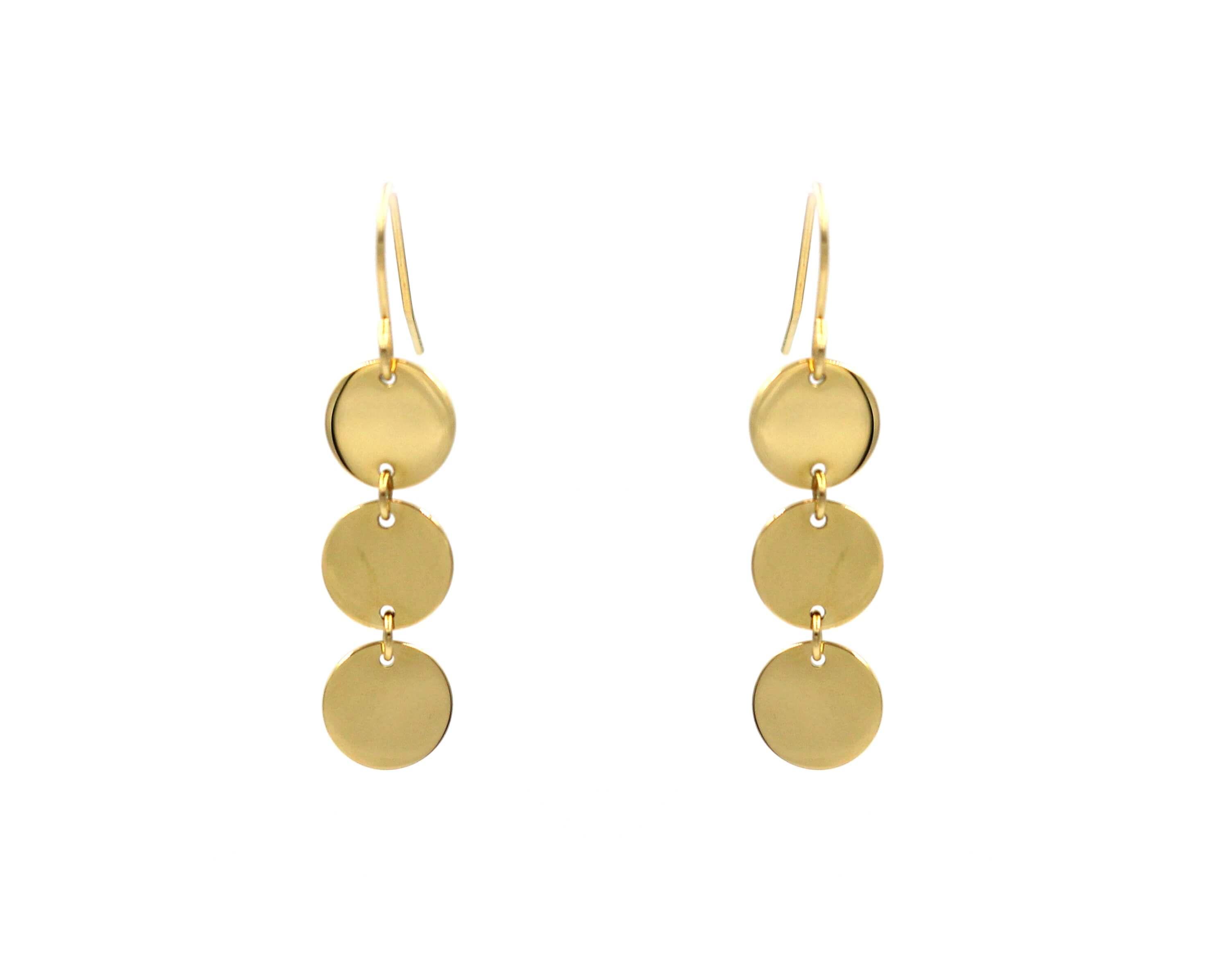 Boucles d'oreilles 3 pastilles en acier jaune - Zag Bijoux