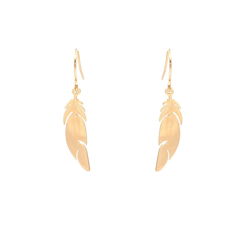 Pink steel feather earrings...