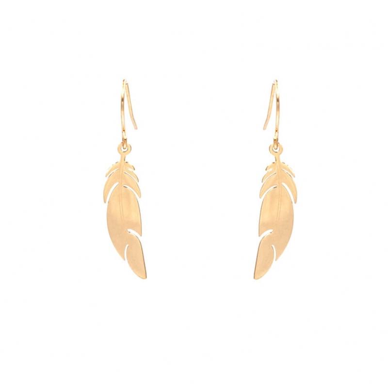 Boucles d'oreilles plume en acier rose - Zag Bijoux