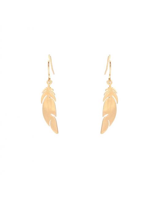 Pink steel feather earrings - Zag Bijoux