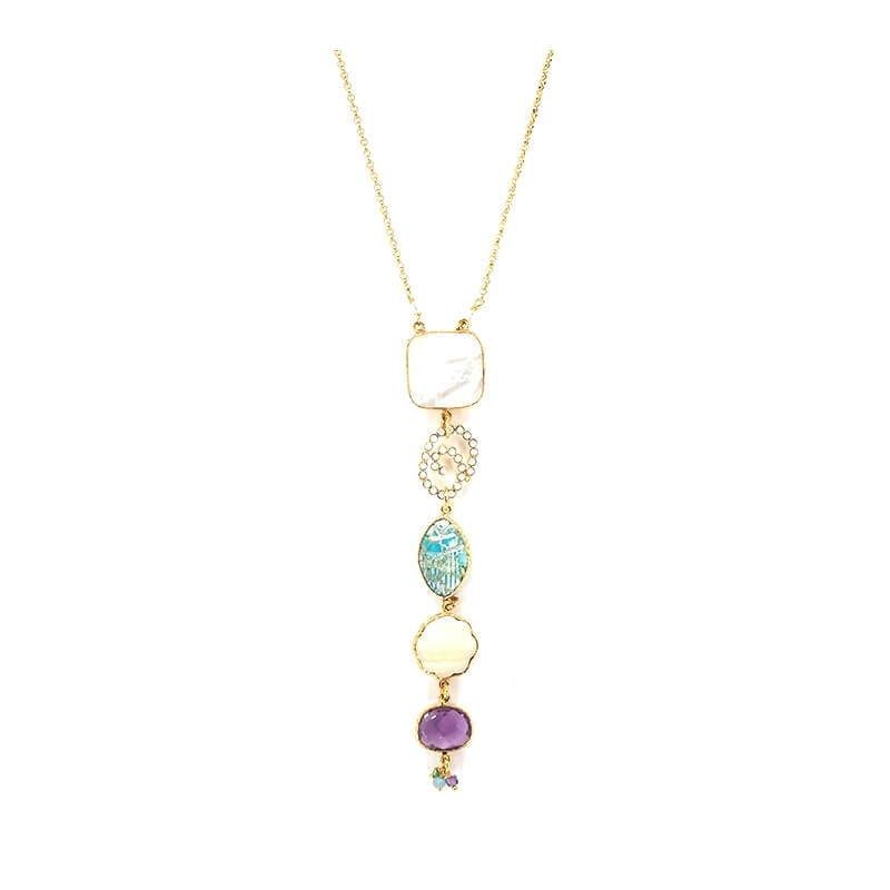 Poeme gold long necklace -...