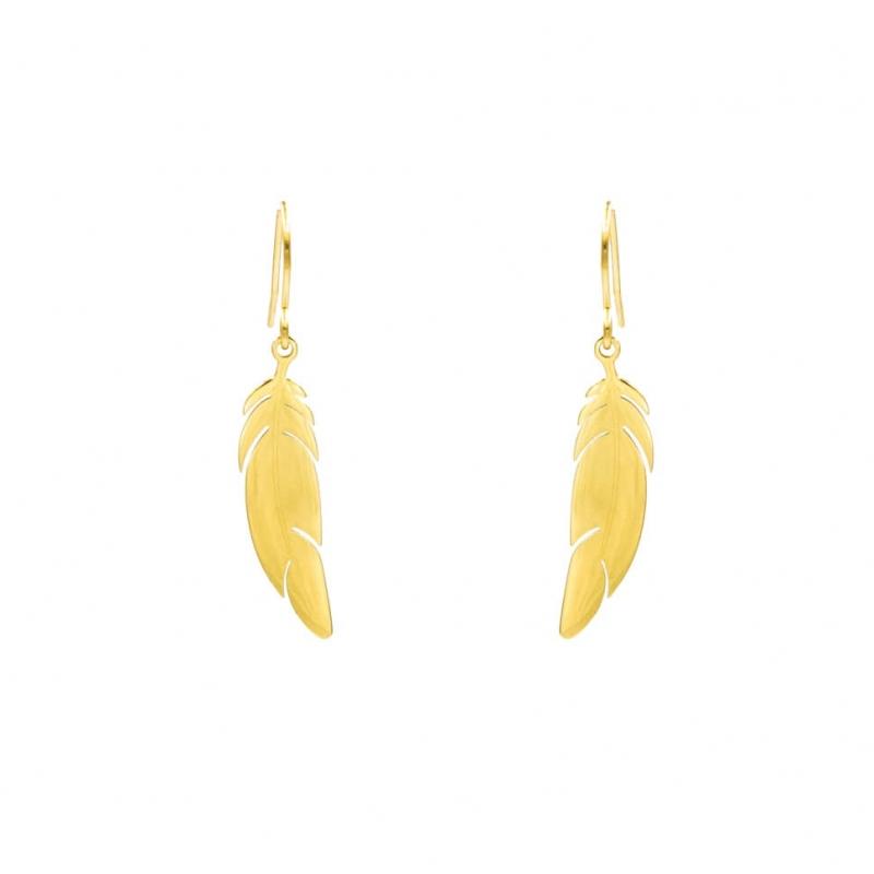 Feather earrings in yellow...