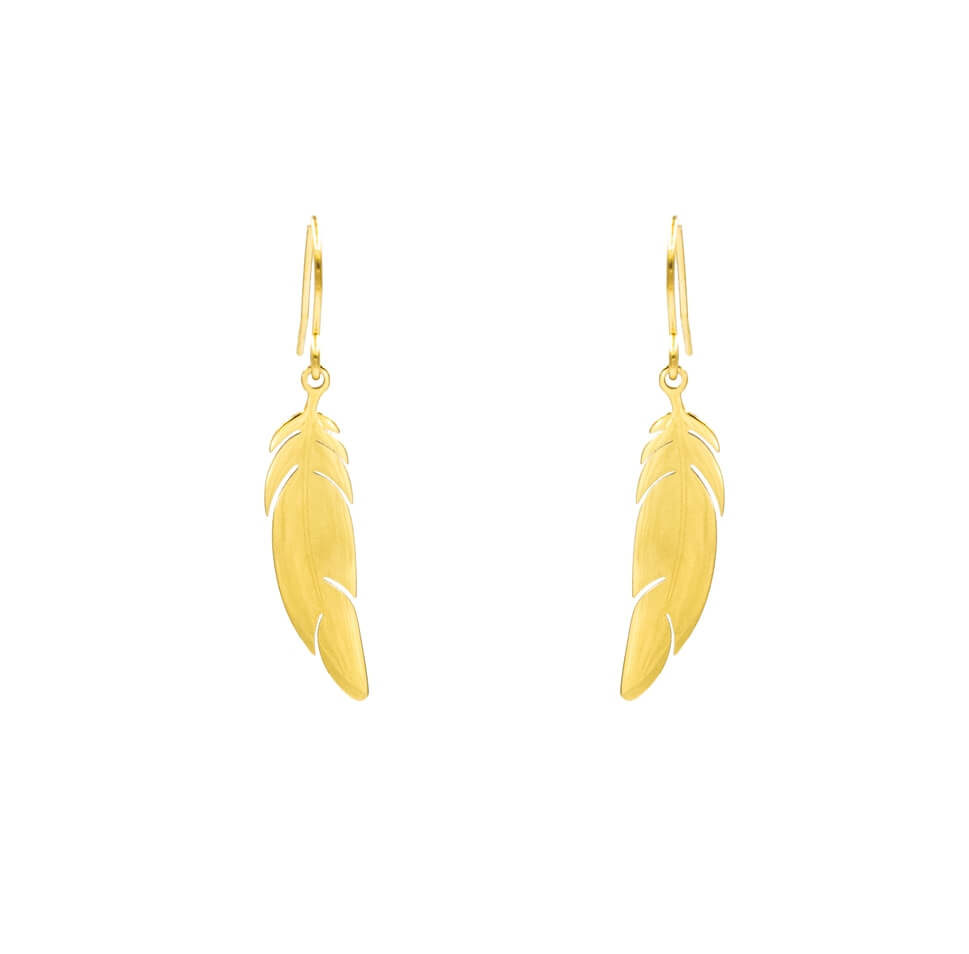 Boucles d'oreilles plume en acier jaune - Zag Bijoux