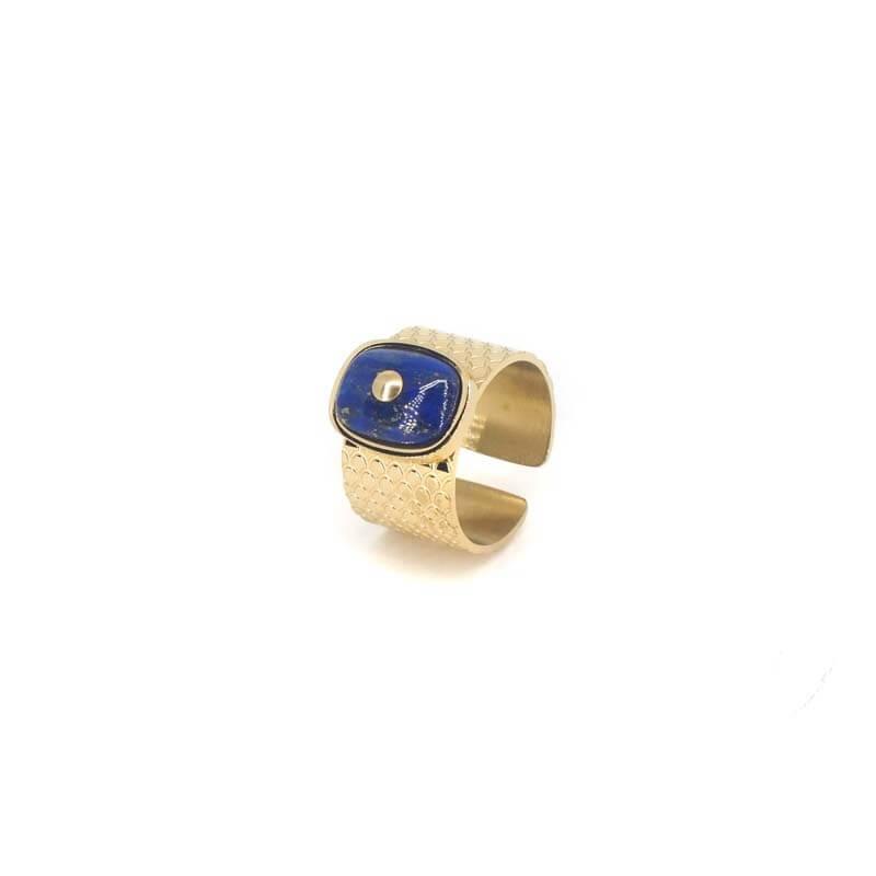 Bague jonc stone lapis lazuli en acier jaune - Zag Bijoux