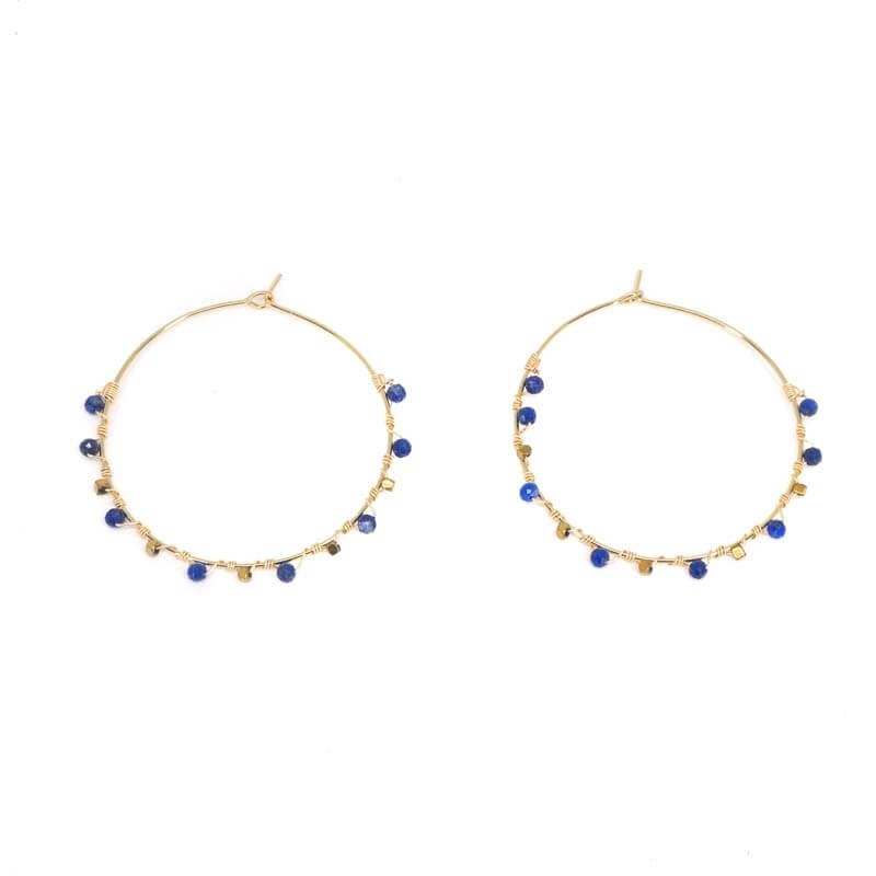 Boucles d'oreilles créoles précieuses lapis lazuli - Zag Bijoux