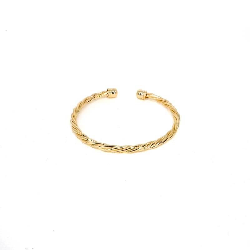 Bracelet jonc torsadé en plaqué or - Les créations de Lili