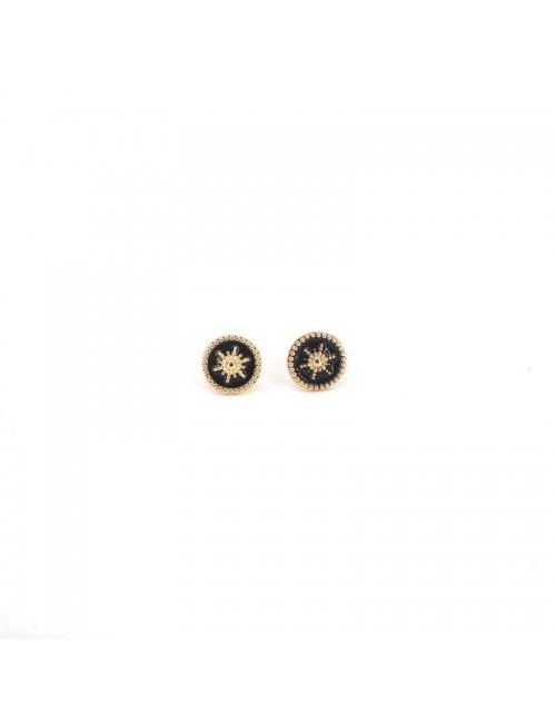 Boucles d'oreilles clous soleil noir or - Pomme Cannelle
