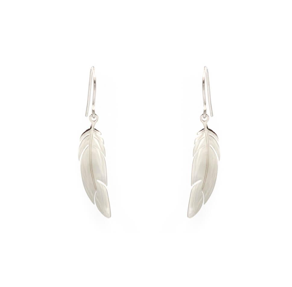 Boucles d'oreilles plume en acier - Zag Bijoux