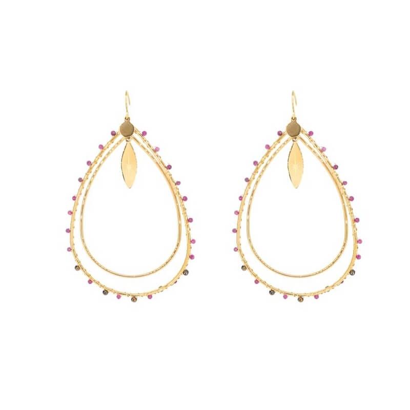 Boucles d'oreilles Aurore fushia en acier jaune - Zag Bijoux