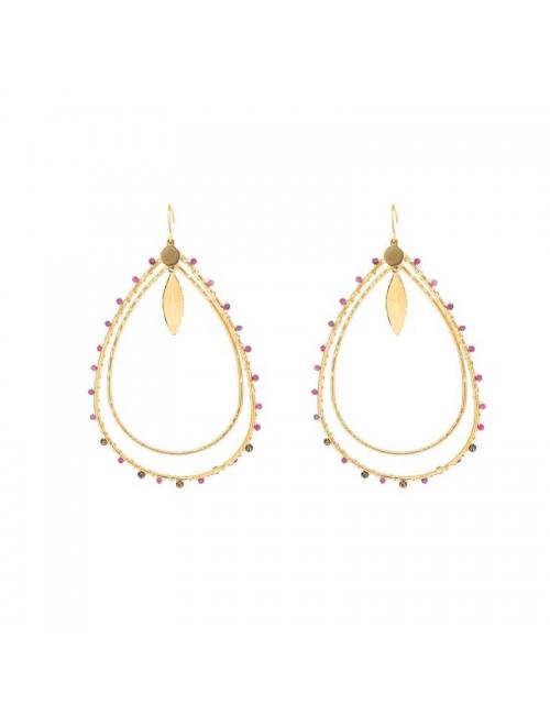 Aurelia fushia gold earrings - Zag Bijoux