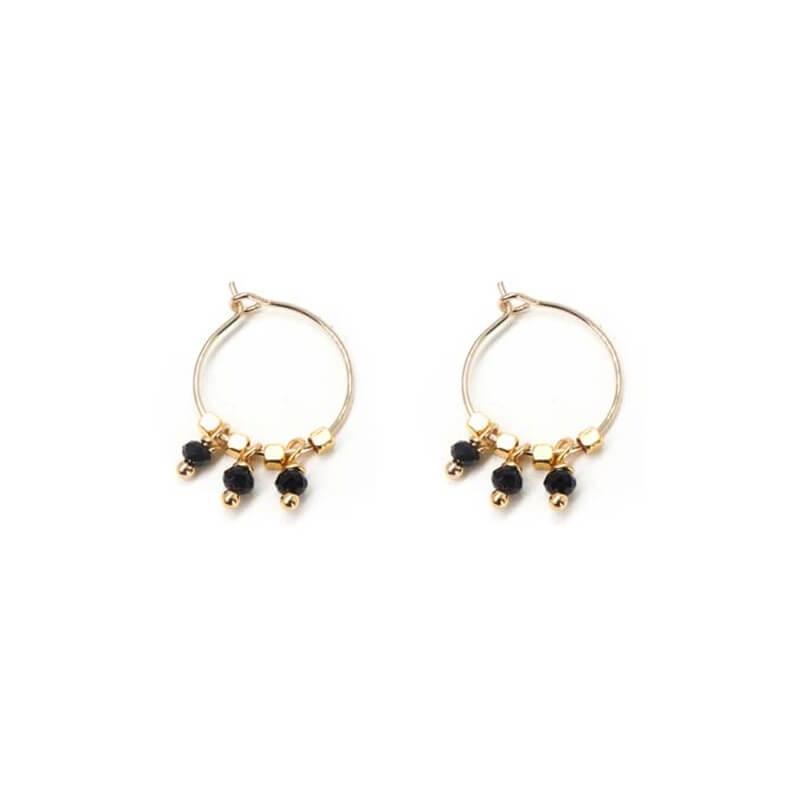 Boucles d'oreilles créoles pampilles onyx en plaqué or - Les créations de Lili