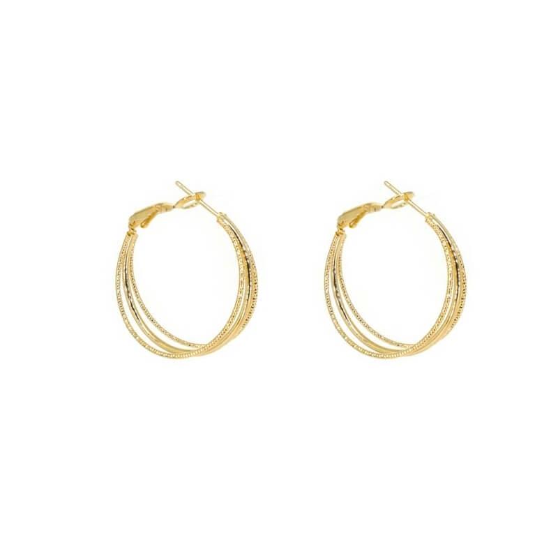 Boucles d'oreilles créoles 3 branches en plaqué or - Les créations de Lili