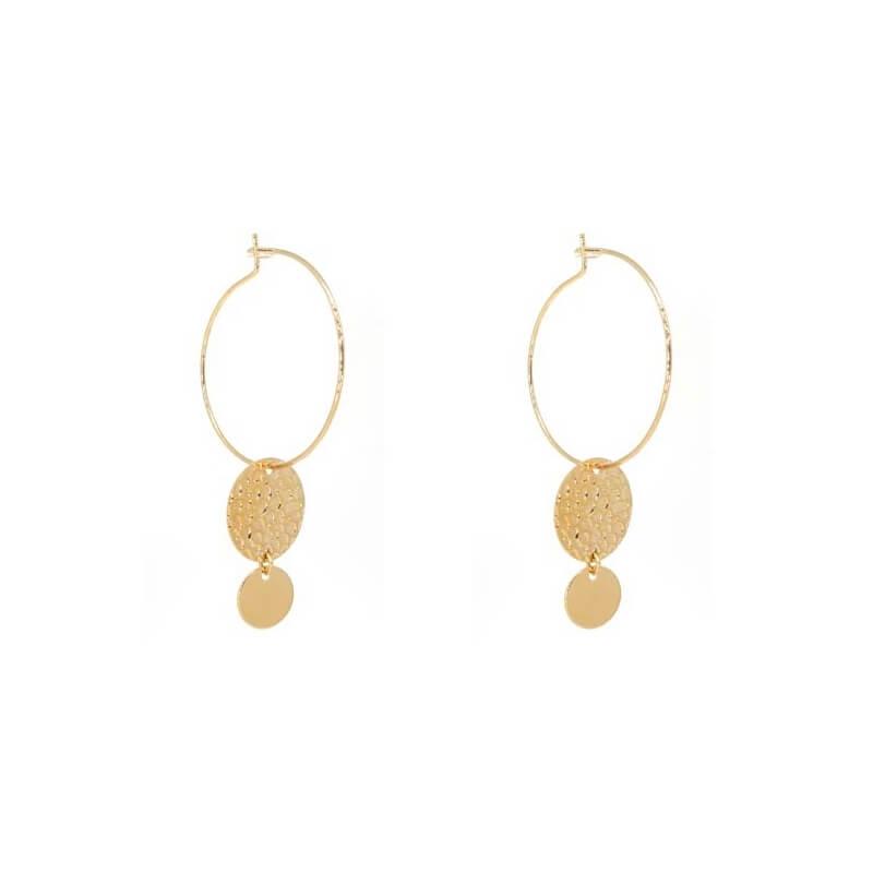 Boucles d'oreilles créoles double pastilles en plaqué or - Les créations de Lili