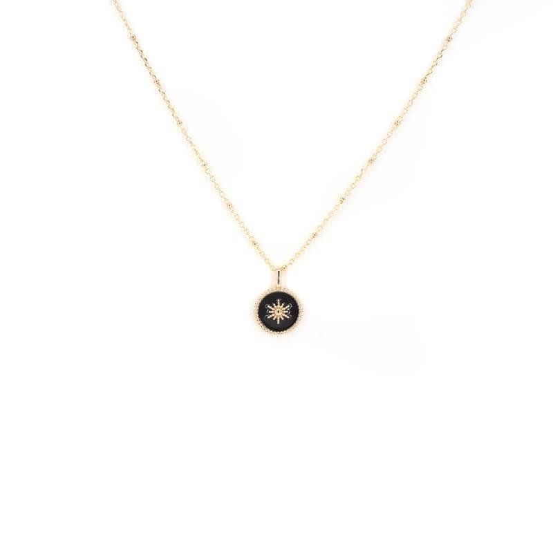 Collier soleil émaillé noir en plaqué or - Les créations de Lili