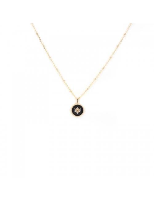 Black enamelled sun gold necklace - Pomme Cannelle