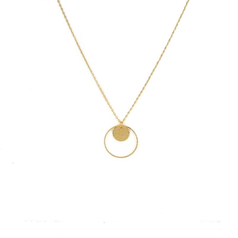 Hammered pastille circle gold necklace - Pomme Cannelle