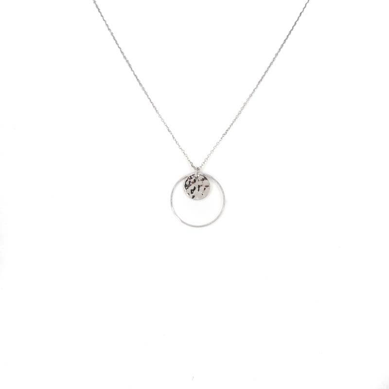 Hammered pastille circle silver necklace - Pomme Cannelle