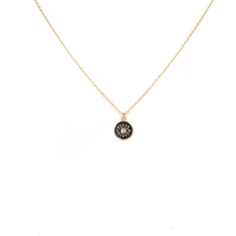 Collier mini oeil émaillé noir en plaqué or - Les créations de Lili