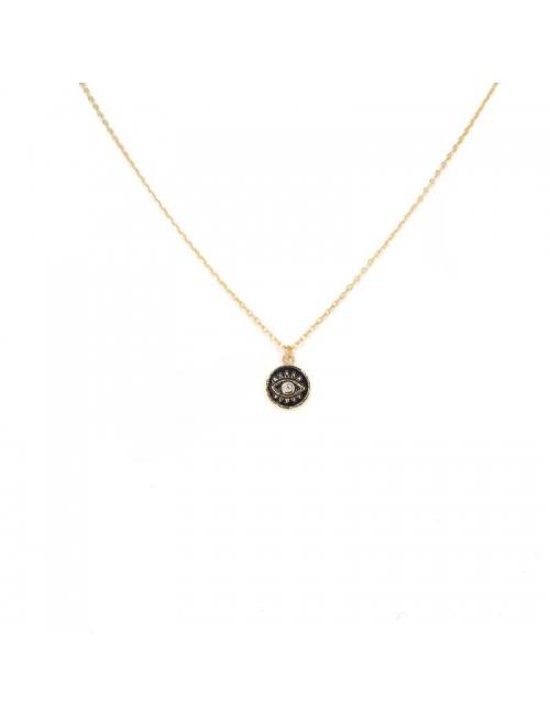 Black enamelled eye gold necklace - Pomme Cannelle