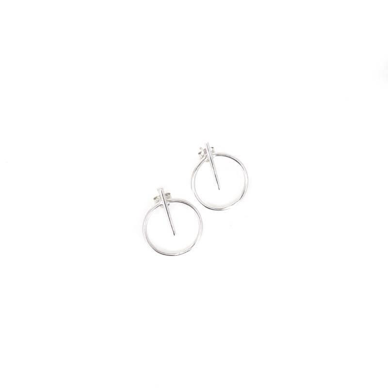 Bar circle silver earrings...