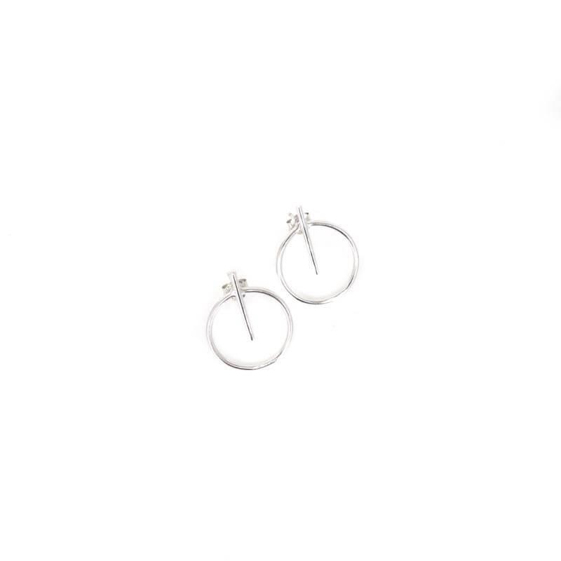 Boucles d'oreilles cercle barrette argent - Pomme Cannelle