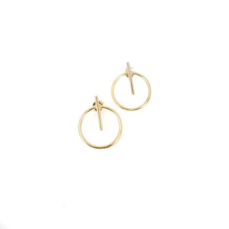 Bar circle gold earrings -...