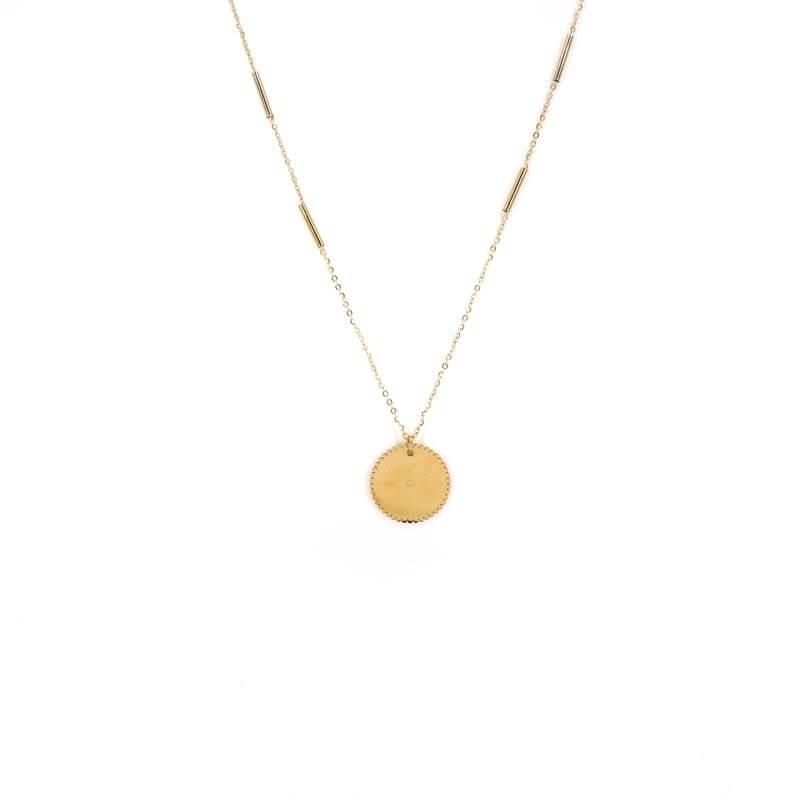 Golden steel eye necklace -...