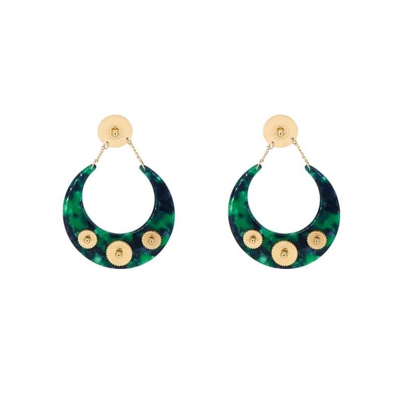 Boucles d'oreilles lune acétate vertes en acier jaune - Zag Bijoux