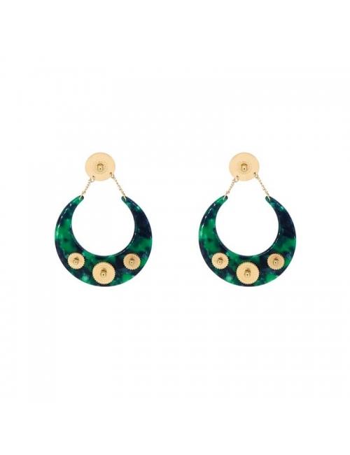 Boucles d'oreilles lune acétate vertes acier - Zag Bijoux