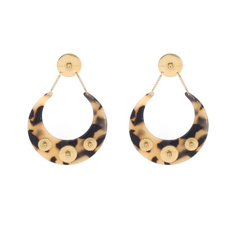 Boucles d'oreilles lune acétate marron en acier jaune - Zag Bijoux