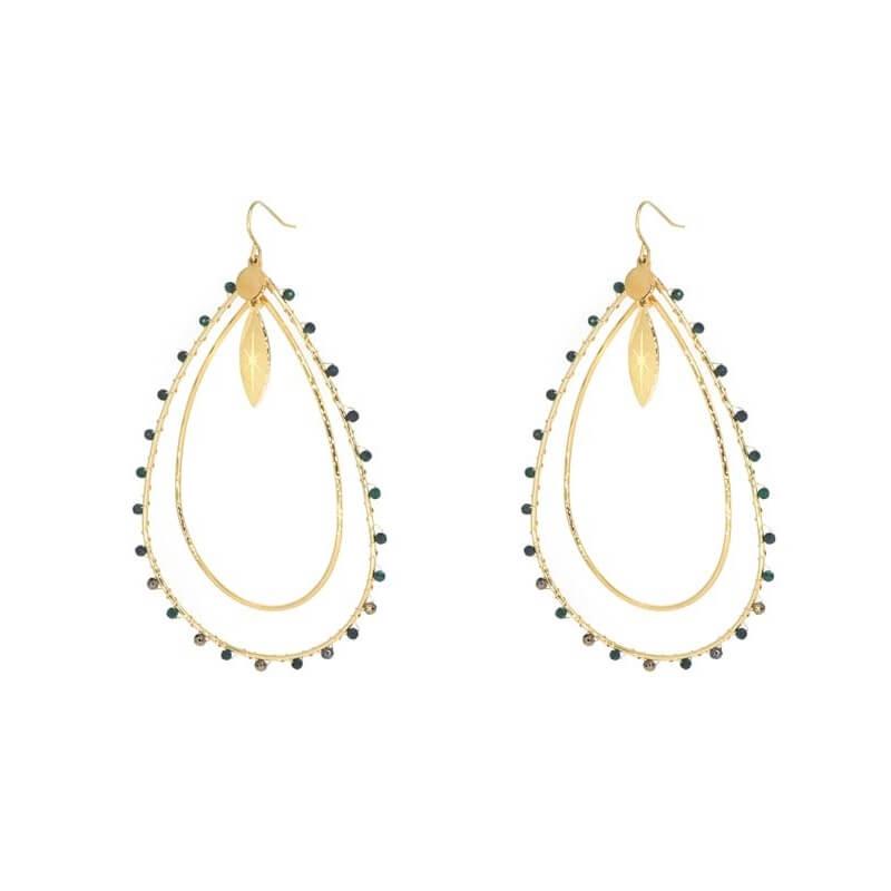 Aurelia green gold earrings - Zag Bijoux